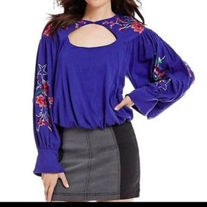 Free People NWT Boho embroidery Balloonsleeve top
